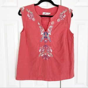 Vineyard Vines Linen Blend Coral Embroidered Top